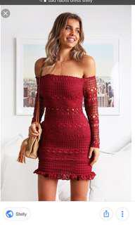 Red wine crochet dress