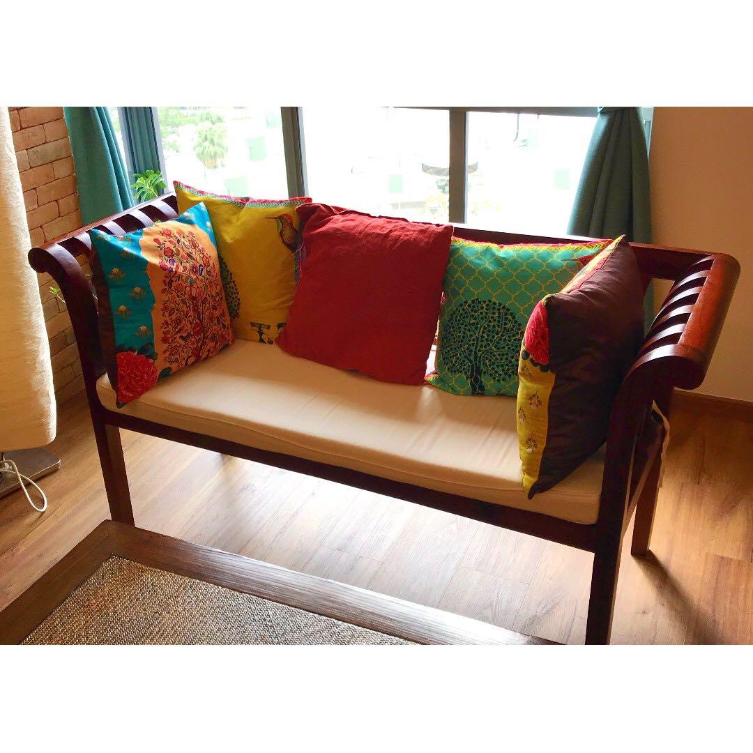2 seater teak sofa for sales furniture sofas on carousell rh sg carousell com