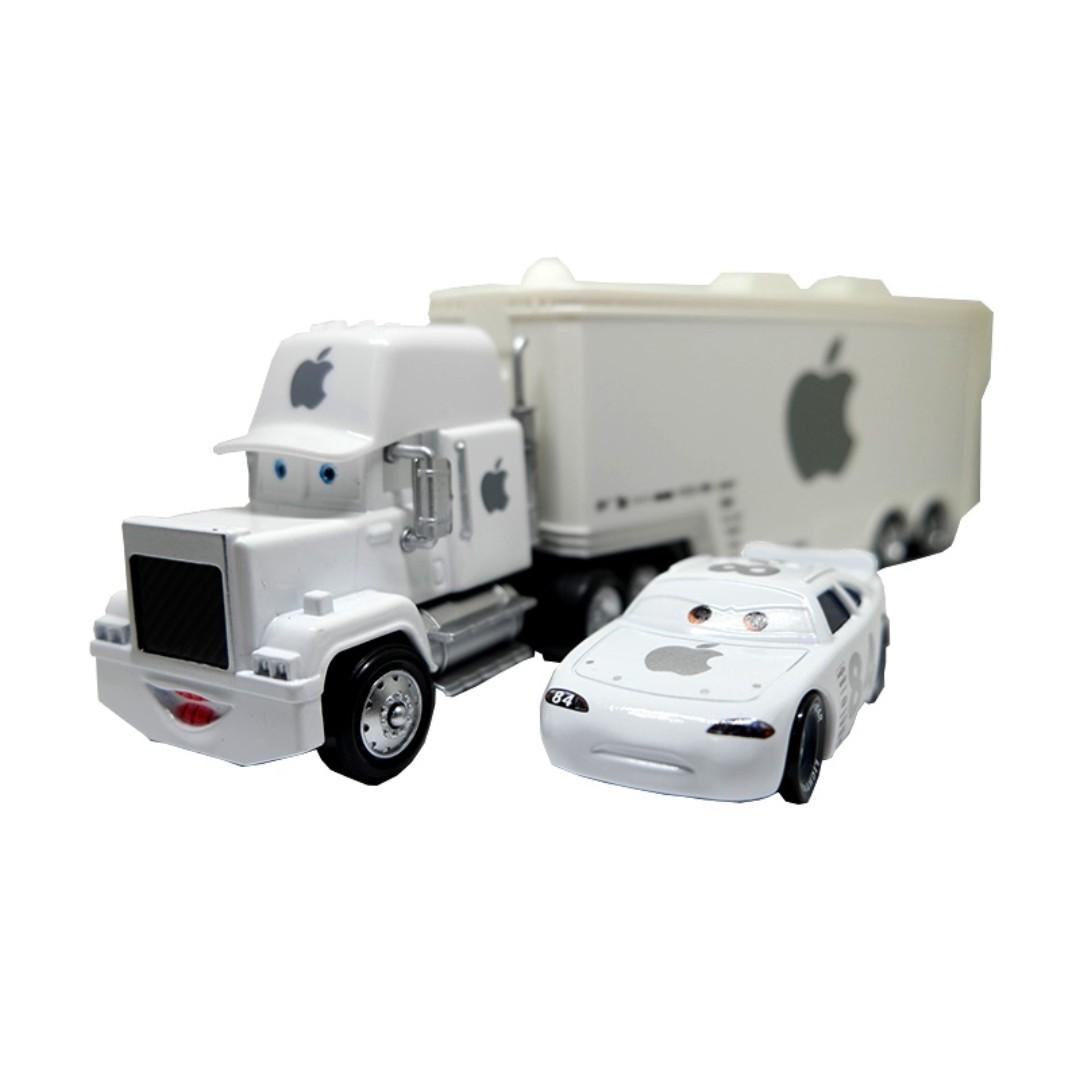 2pcs/Set Disney Pixar Cars White Apple Mack Racer's Truck
