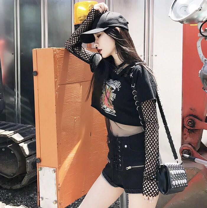 17d2d023c45 3-piece outfit  graphic crop top  mesh fishnet sleeves  lace up ...