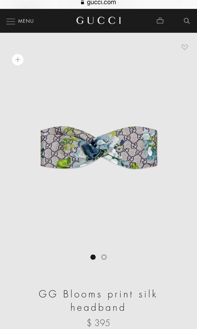 a7643ec7302 Authentic Gucci Blooms print silk headband