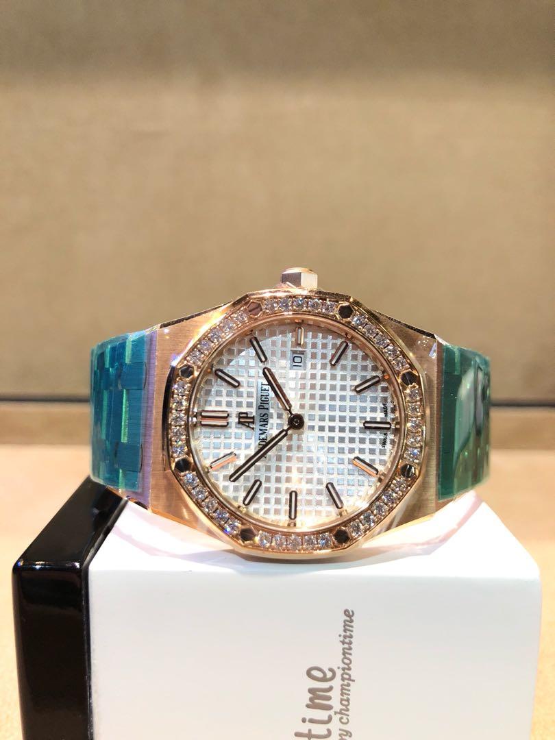 796e035a54c Brand New Audemars Piguet Royal Oak 67651OR Silver Dial Quartz Rose ...