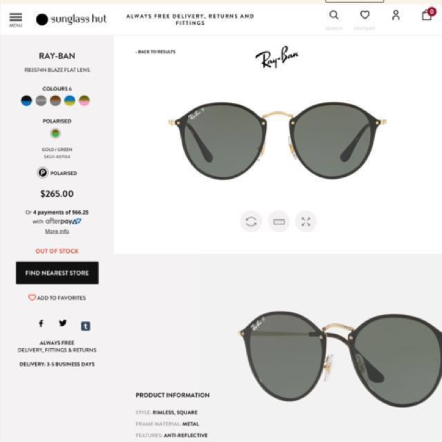 eba24ba3d2 BRAND NEW AUTHENTIC Ray Ban Polarised Sunglasses blaze round ...