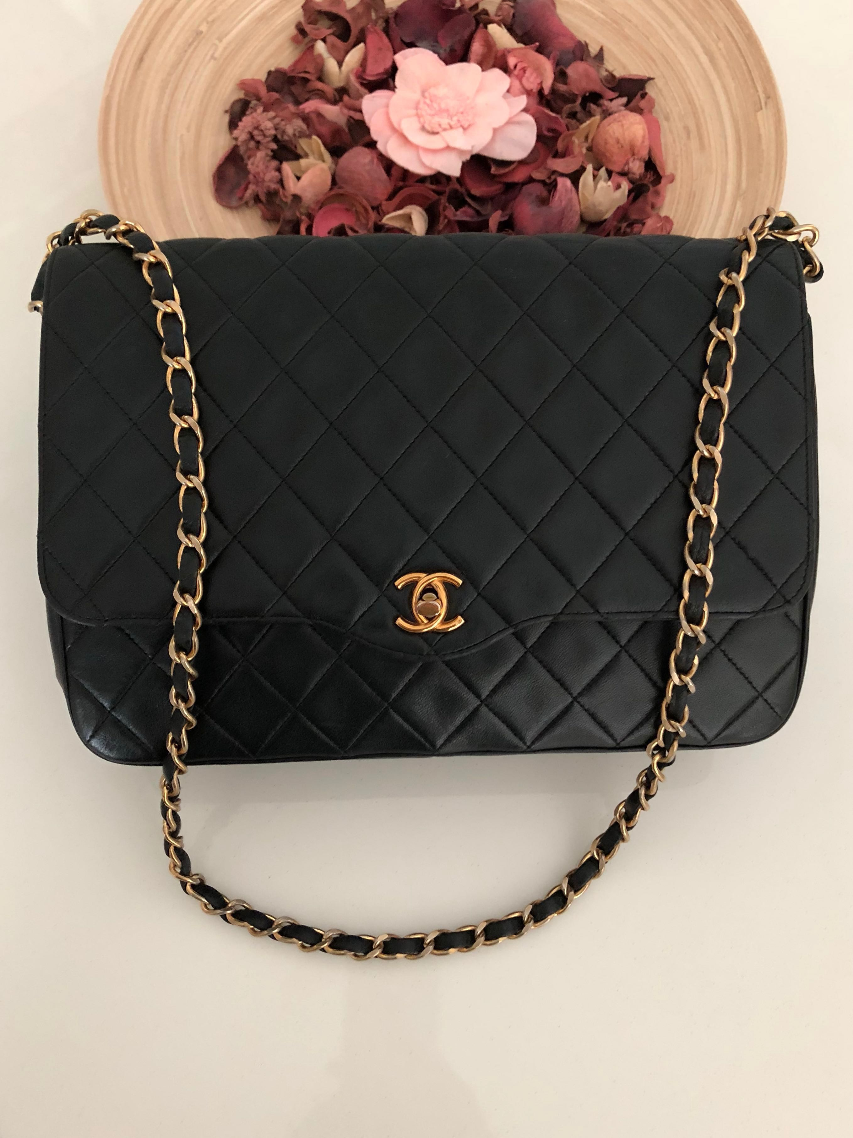 77b4dfcd2a CHANEL Both Sided CC Tote, Rare Chain On Leather Strap, Large Lady ...
