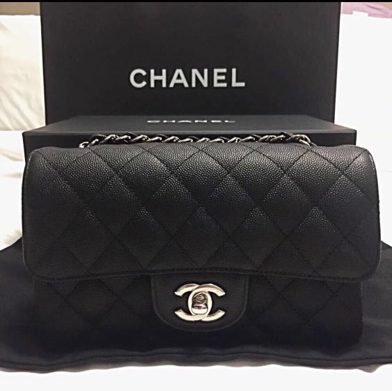 854fe19b3d31 Chanel Mini Quilted Classic Flap Bag in Caviar with Silver Hardware ...