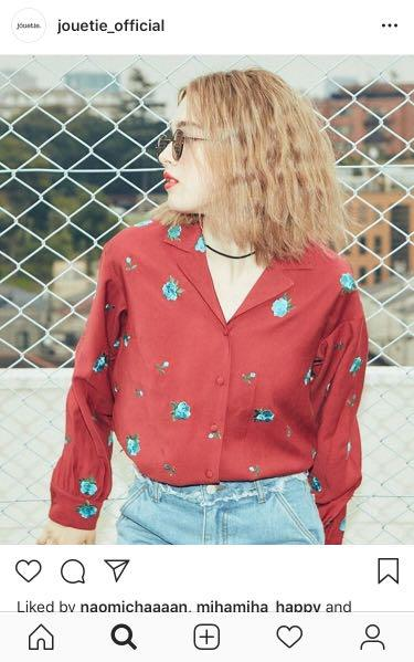 Japan jouetie Oversized boyfriend style burgundy embroidered rose blouse