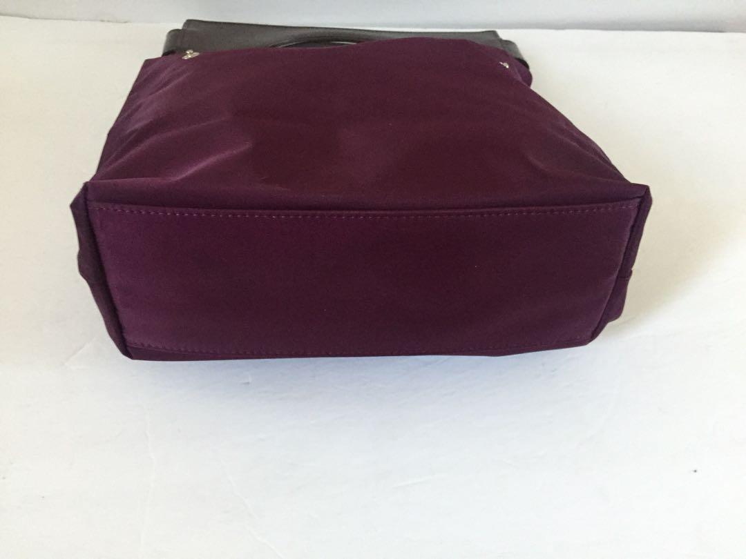 LANCEL BURGUNDY NYLON BAG WITH BROWN TRIM EXCELLENT CONDITION