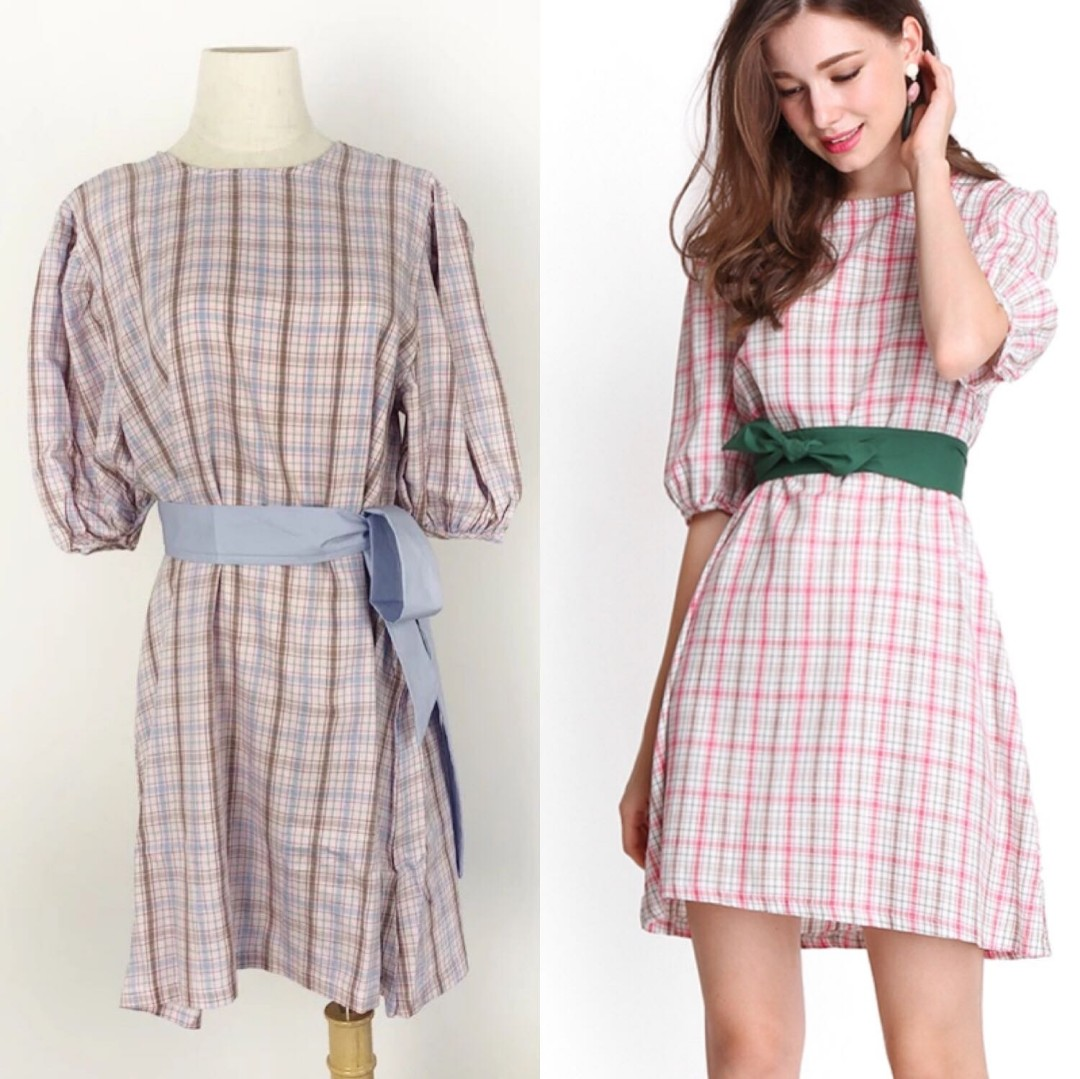 431b81804bc Lilypirates Mochi Moment Dress in Pink Gingham Print With Blue Sash ...