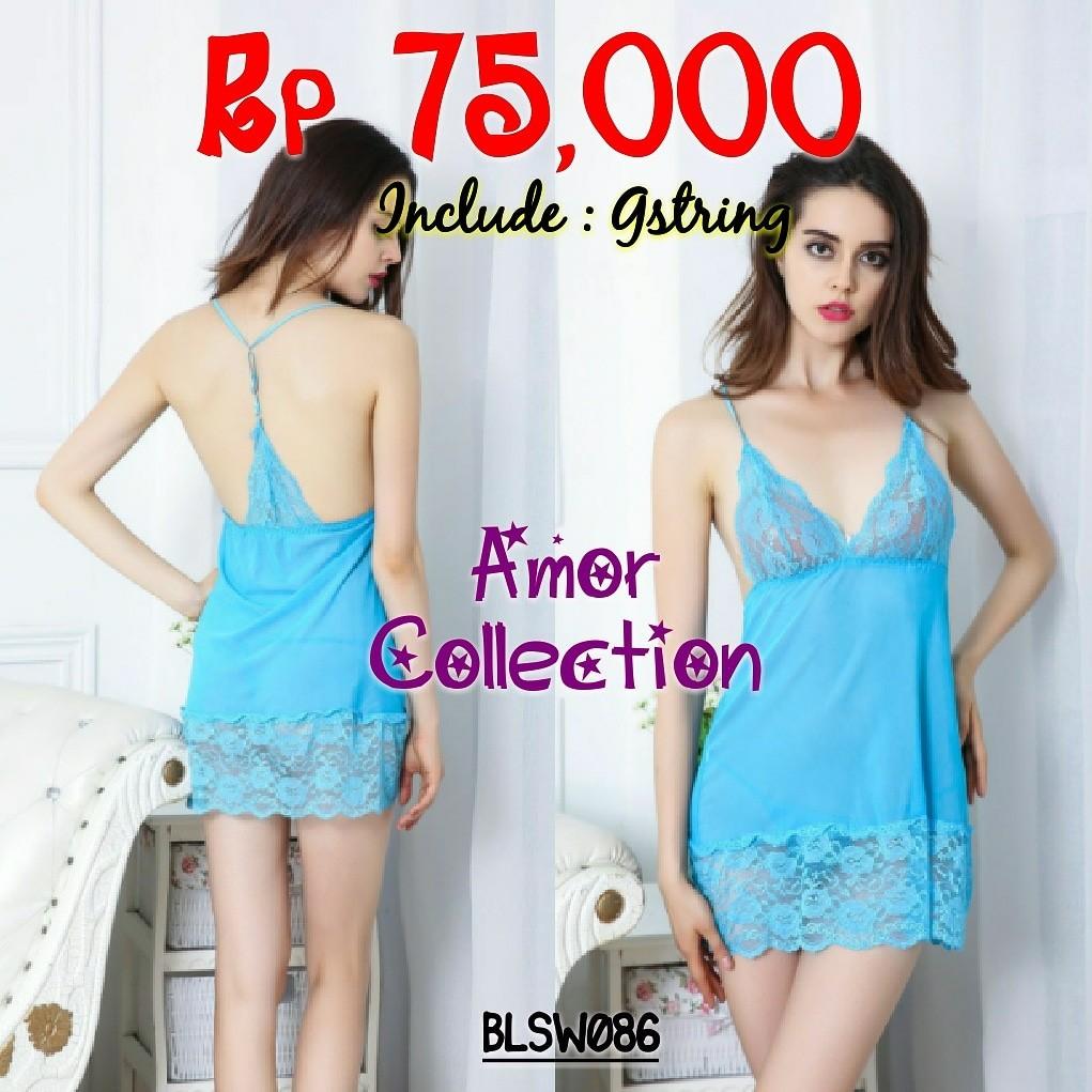 Lingerie seksi sleepwear biru super soft (BLSW086) By Amor Collection f561365baa