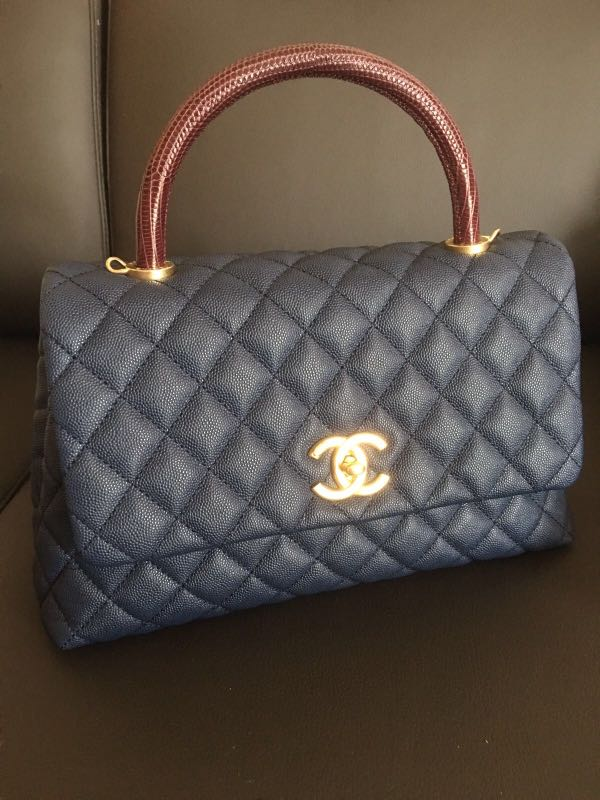2024855f699c LNIB Chanel Coco Handle Blue with Lizard handle