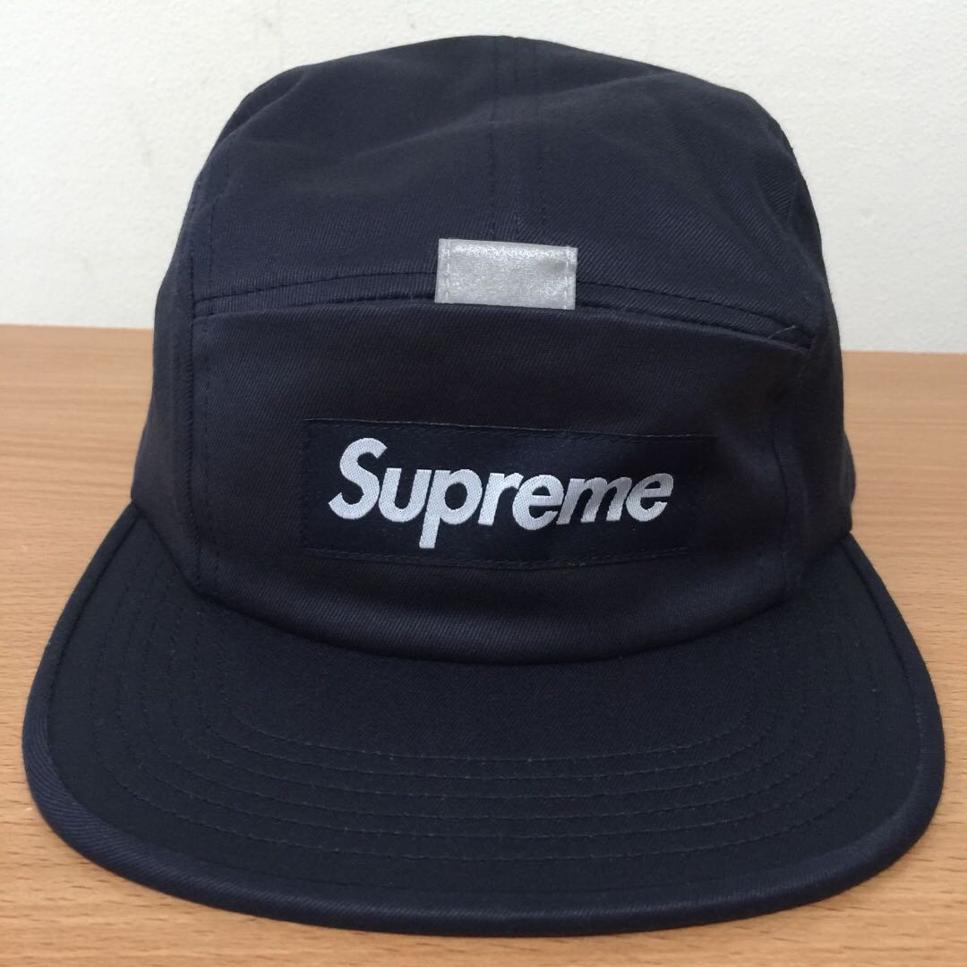 b9cb1fefb5f Supreme 2018 SS Week 11 Reflective Tap Pocket Camp Cap Navy