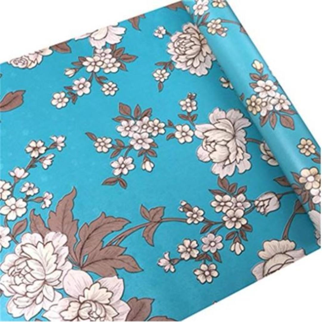 Wallpaper Peel Stick Retro Sky Blue With Floral Design On Carousell