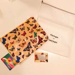 $55/1個 lane Crawford x chictopia 金黃色化妝袋 蝴蝶圖案 大size 薄身 (送小鏡子+防塵套)