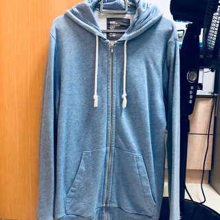 H&M Divided Plain Simple Light Blue Hoodie Jacket Zip Outerwear Pullover