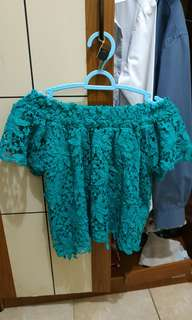 Sabrina green lace top by chic simple