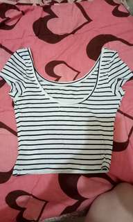 Bershka crop top,lowback stripe