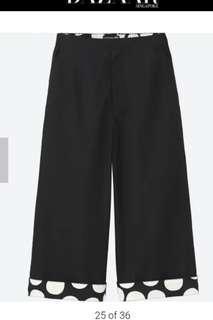 marimekko x uniqlo black wide cropped pants