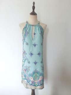 Vintage print halter neck dress