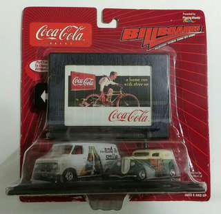Coca-cola Billboard with 76 Chevy Van and 38 Ford Panel Delivery Vehicles