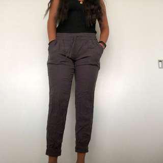 Brown / purple tie pants aritzia