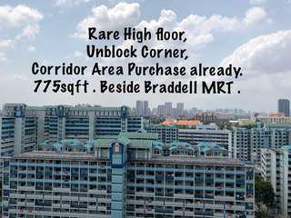 Beside Braddell MRT, Corner Unit With Cooriddor Access Purchased, unblock and very High Floor