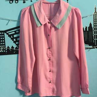 Blouse pink top pink