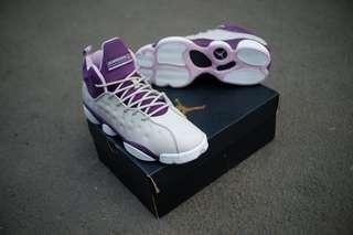 Original air jordan jumpman team II gs grey prple sepatu basket murah 3cbc72f8a2