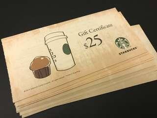 ☕️16張Starbucks $25現金券
