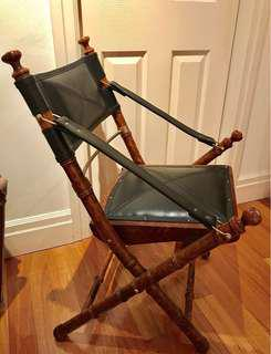 NEW Campaign Folding Teak Leather Chair