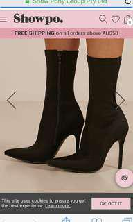 THERAPY BLACK HEELED SOCK BOOTS