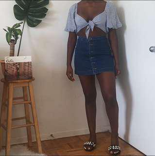 American Apparel Denim Button Up Skirt