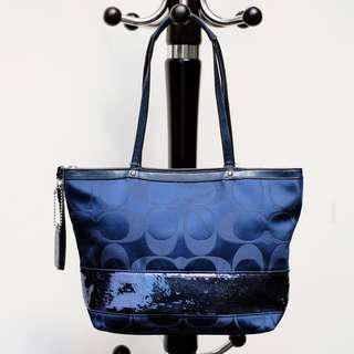 Coach Shoulder Bag Dark Blue Original Second