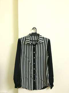RM20 Black & White Stripe Blouse