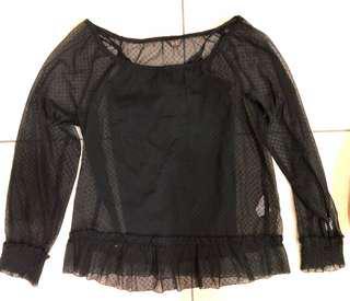 🚚 Veeko 兩件式蕾絲透明上衣