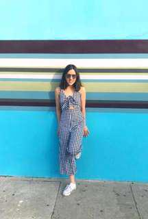 Gingham Culotte Jumpsuit Size Small