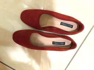 🚚 韓 高質感磚紅復古低跟鞋