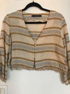 Zara crop knit blouse