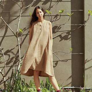 MUJI 法國水洗 100% 亞麻 無袖背心裙 洋裝