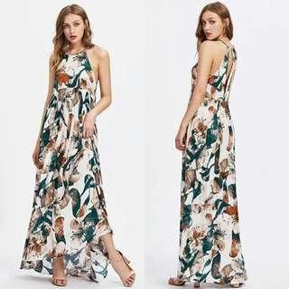 🐋Maxi dress halter style open  back