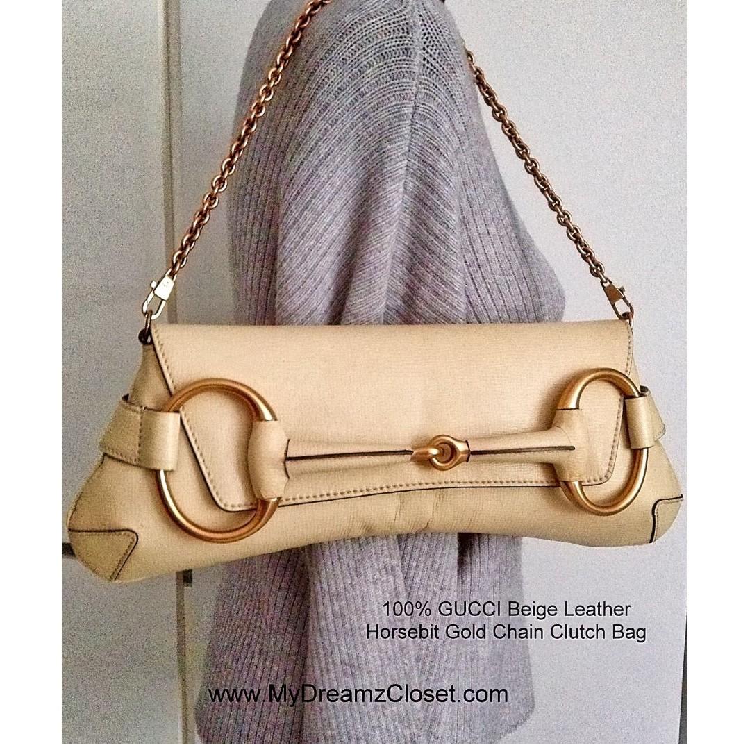 15013ea48e9 100% GUCCI Beige Leather Horsebit Gold Chain Clutch Bag retail US ...