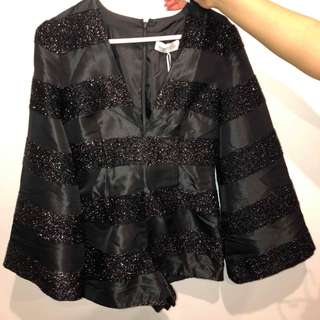 Alice McCall Black Long Sleeve Playsuit Size 8