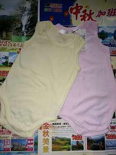 $60/2 100% NEW  Baby clothes cotton  bb clothings babe baby Dymples underwear 6-12 months 全新 嬰兒 嬰孩 婴儿 嬰幼兒 背心衣 車衣 夾衣 全身衣 衫仔 衣服 單身 淨色 黄色 粉紅色
