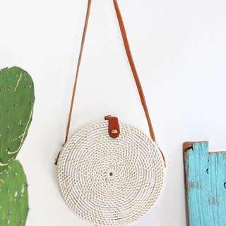 White Rattan Bag from Bali