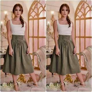 🌍white and green terno skirt