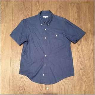 Global work blue denim short sleeves shirt