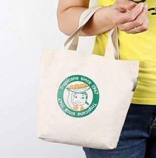 女孩印花麻棉手提袋 午餐袋 飯盒袋