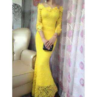 YELLOW FLORAL LACE MAXI DRESS