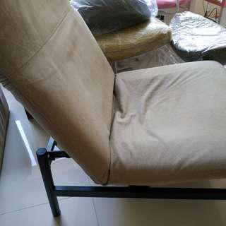(二手 可議價) 日本 MUJI 無印良品 可調整單人休閒沙發 米色織布 sus 自由組 橡木 無垢材