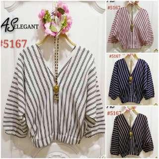 🍀Stripes V neck blouse