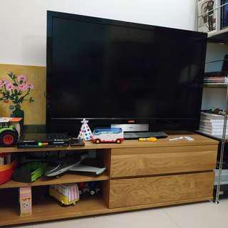 (二手 歡迎議價) 日本 MUJI 無印良品 無垢材 寬152×深41×高45cm 電視櫃 抽屜 橡木 sus 自由組